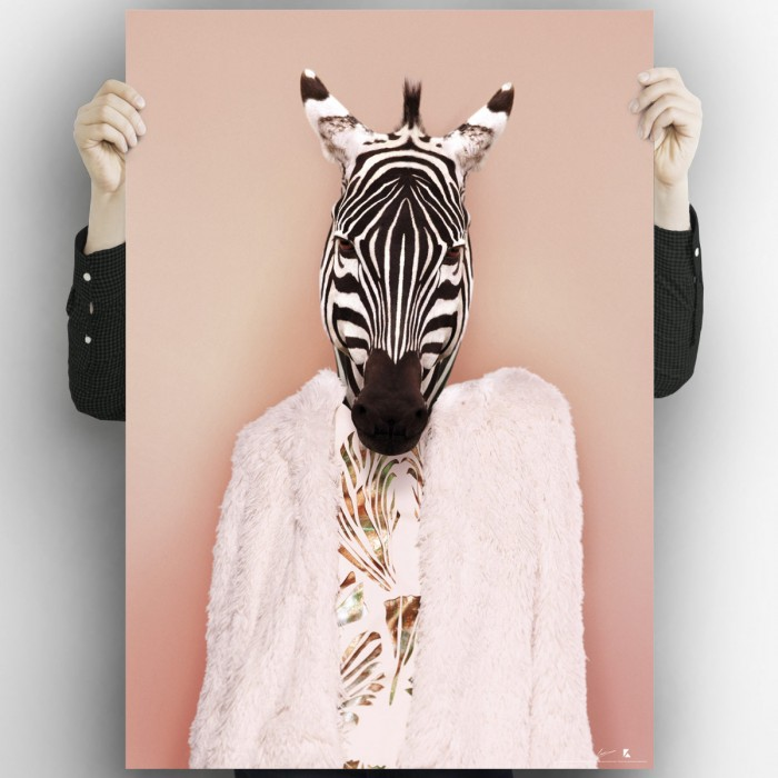 Zebra model. Poster design for printing of an elegant zebra with the most modern clothes