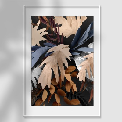Bohemian art print 2 - author's design mural flowers and branches eucalyptus and monsteras earth, blue and light gray lokoloko