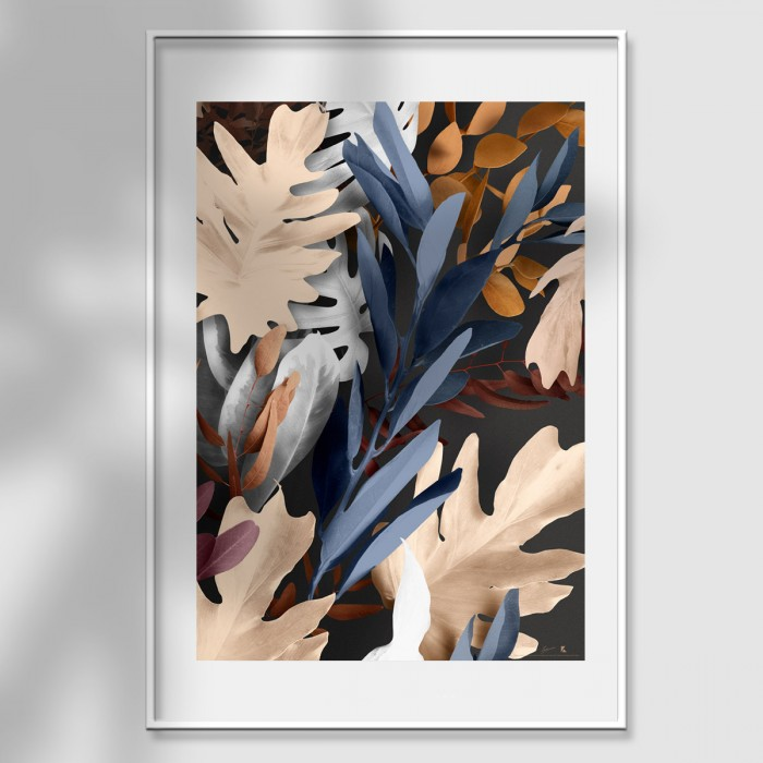 Bohemia 3 poster - author's design mural flowers and branches eucalyptus and monsteras earth, blue and light gray lokoloko