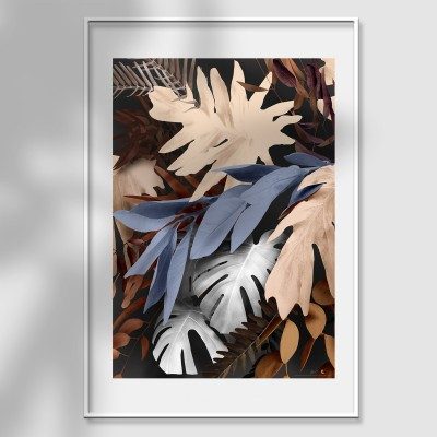 Bohemia 4 poster - author's design mural flowers and branches eucalyptus and monsteras earth, blue and light gray lokoloko