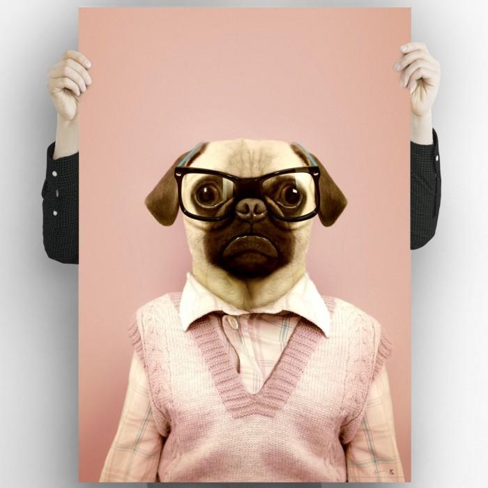 Pug Model-washable-poster-for-exterior-interior-dog-decoration-fun-original-modern-style-lokoloko