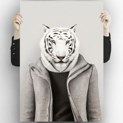 Albino Tiger model-detail-poster-washable-for-exterior-interior-decoration-fun-original-style-modern-lokoloko