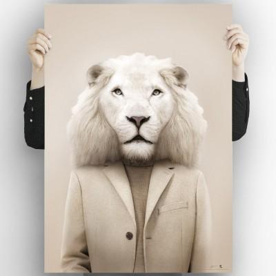 Albino Lion Model-Model Lion Albino-poster-washable-for-exterior-interior-dog-decoration-fun-original-style-modern-lokoloko