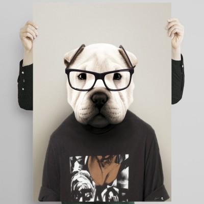 Shar Pei Model  - dog created in humanized animal portrait to decorate living room walls. Lokoloko