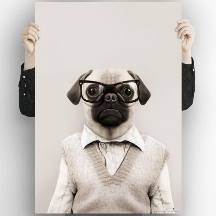 Light Pug Model-washable-poster-for-exterior-interior-dog-decoration-fun-original-modern-style-lokoloko