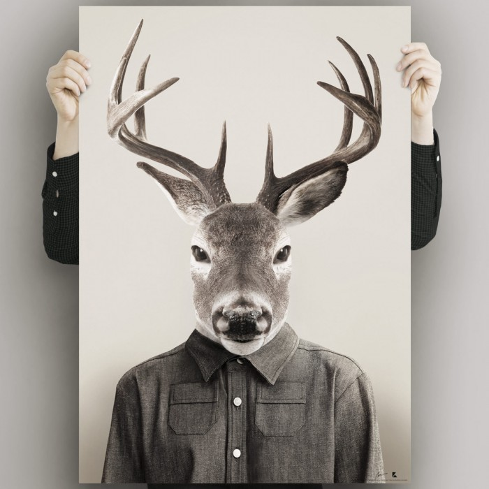 Deer-model-poster-washable-model-for-interior-exterior-modern-animal-dress-lokoloko