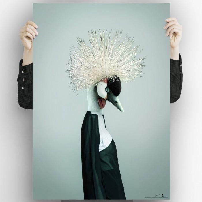 Crowned-crane-poster-washable-high-quality-for-interior-exterior-decoration-modern-original-lokoloko