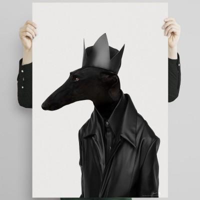 Greyhound Black Rock-poster-washable-eco-for-interior-exterior-style-minimalist-modern-dog-greyhound-lokoloko