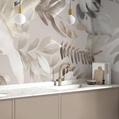 Galana - Washable self-adhesive Vinyl Mural for kitchens bathrooms furniture local walls leaves minimalism warm lokoloko