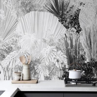 Blancadona - Washable self-adhesive Vinyl Mural for kitchens bathrooms furniture local walls leaves minimalism warm lokoloko