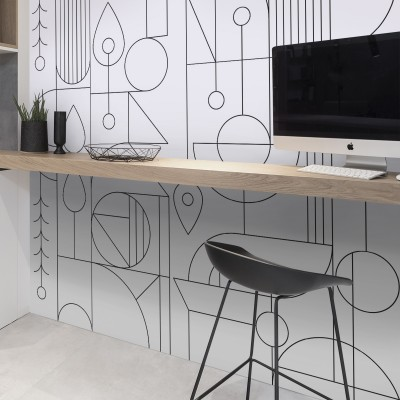 Line black and white - Full mural of opaque washable self-adhesive vinyl for walls and furniture, bathrooms and kitchens