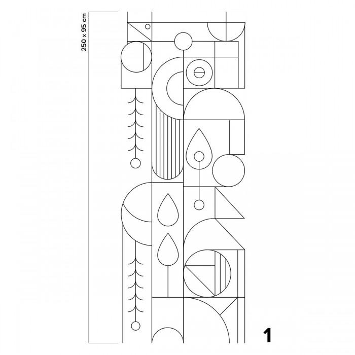 Black and white line - Piece 1 - Bauhaus art deco geometry. Painted self-adhesive wallpaper. Lokoloko