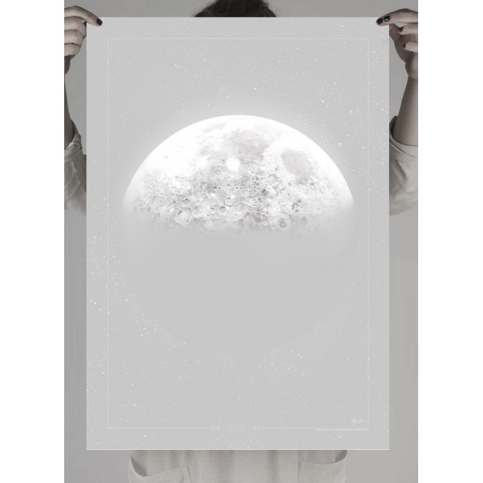 poster of the Moon in shades of gray
