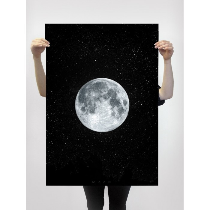 poster of the moon with black background