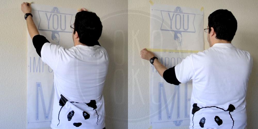Aprende c mo pegar un vinilo adhesivo sobre pared de gotel - Pegar vinilo en pared ...