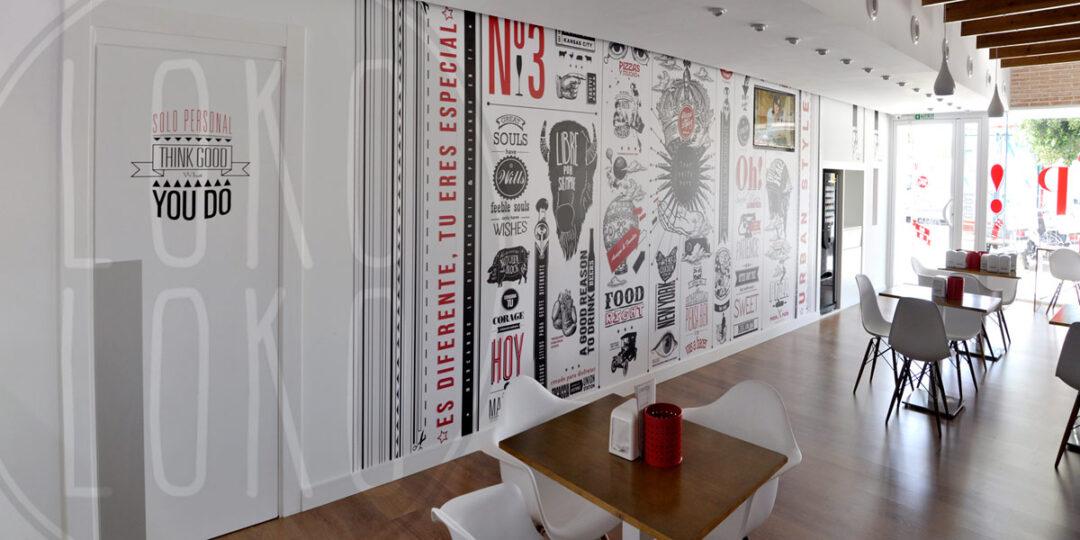 Vinilos adhesivos para la decoraci n integral de restaurantes for Decoracion de paredes con adhesivos