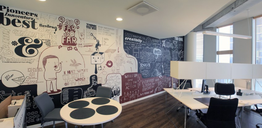 Decoración de oficinas con ilustraciones de pared