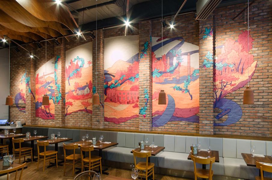 Ilustración de gran formato para la decoración de restaurante con estilo industrial