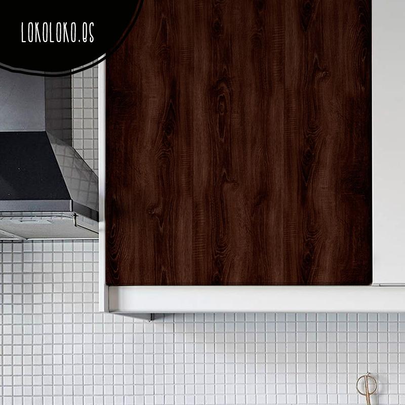mueble de cocina con vinilo decorativo de madera impresa