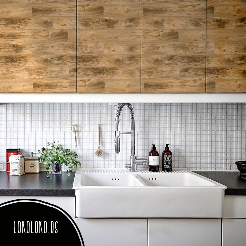 20 ideas para decorar tu cocina con vinilos de impresi n for Vinilo decorativo madera