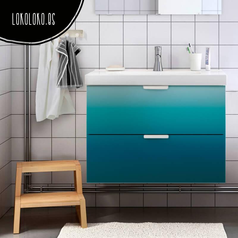 Muebles Para Baño Finos:Vinilo de azules degradados para decorar muebles de baño