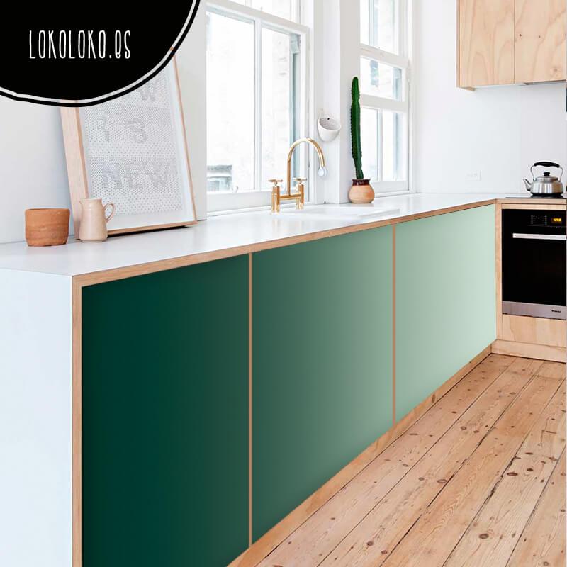 Aparadores con dise os de vinilo en tonos verdes - Vinilos para puertas de armarios de cocina ...