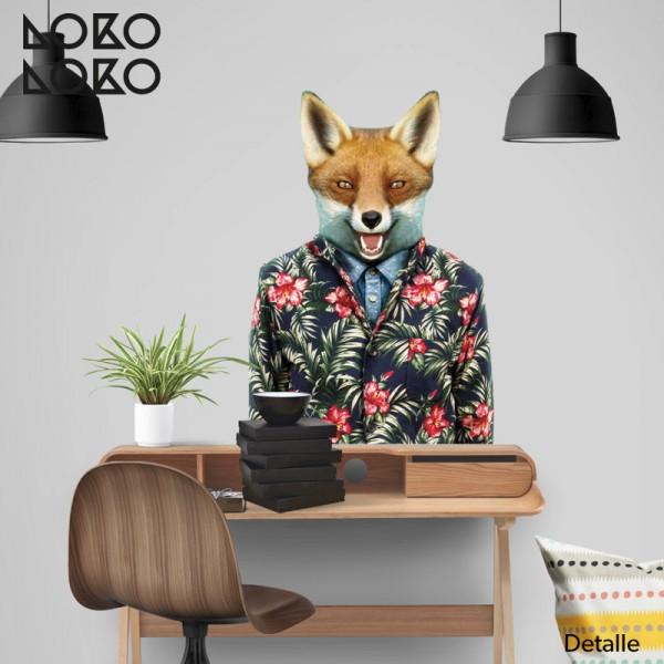 vinilo impreso de un zorro con estilo tropical