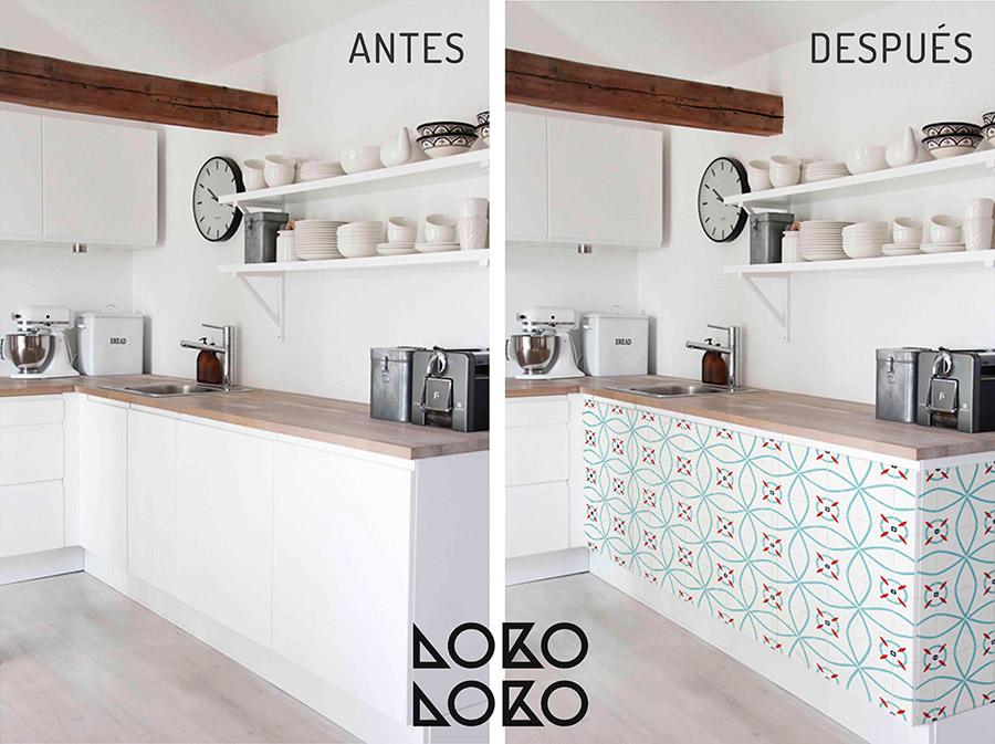 10 ideas con vinilo para transformar cocinas blancas for Vinilos para banos y cocinas