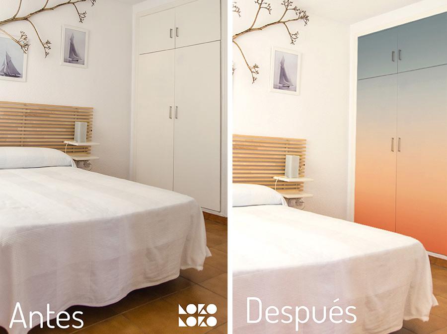 Vinilo degradado en dormitorio estilo mediterráneo