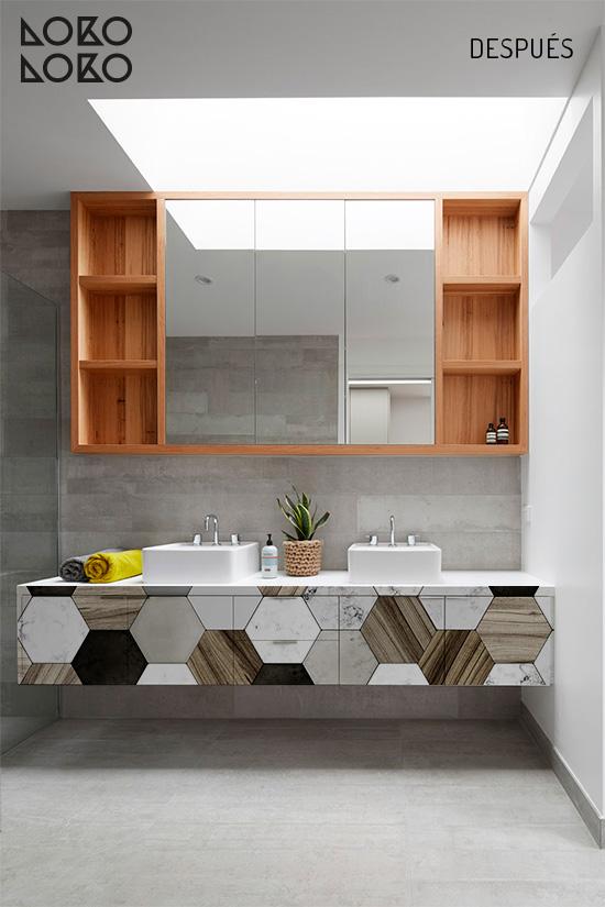 Vinilo de azulejos hexagonales cerámica y madera para decorar muebles de baño