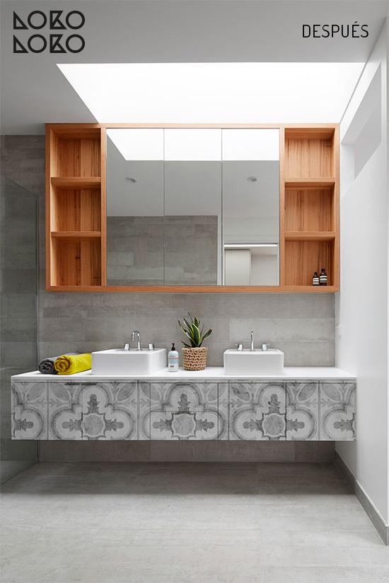 Vinilo decorativo de losas cerámicas retro para muebles de baño