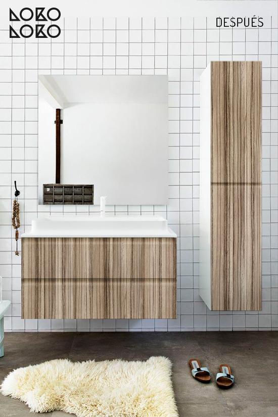 Vinilo decorativo con diseño de madera en mueble de cuarto de baño