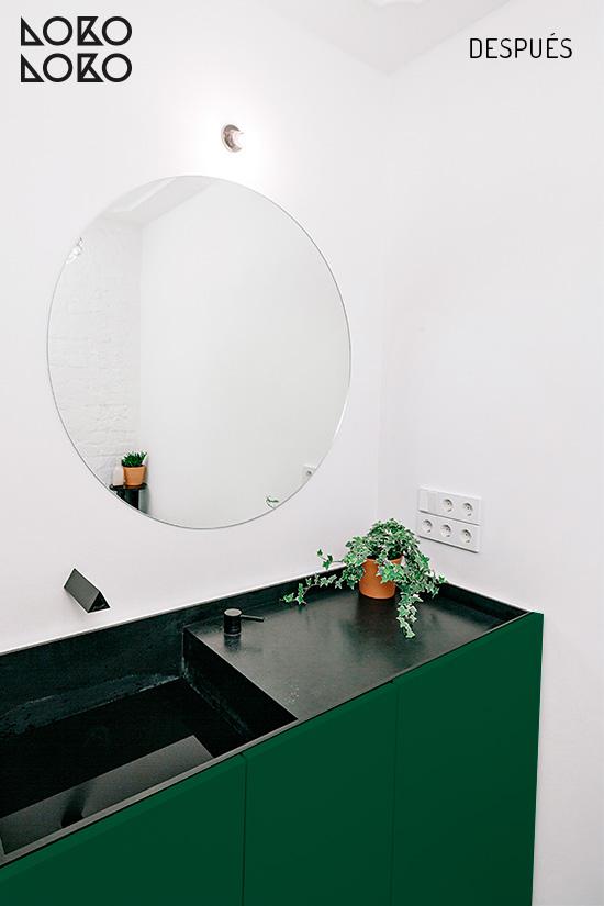 Vinilo autoadhesivo verde por metros para decorar muebles de baño