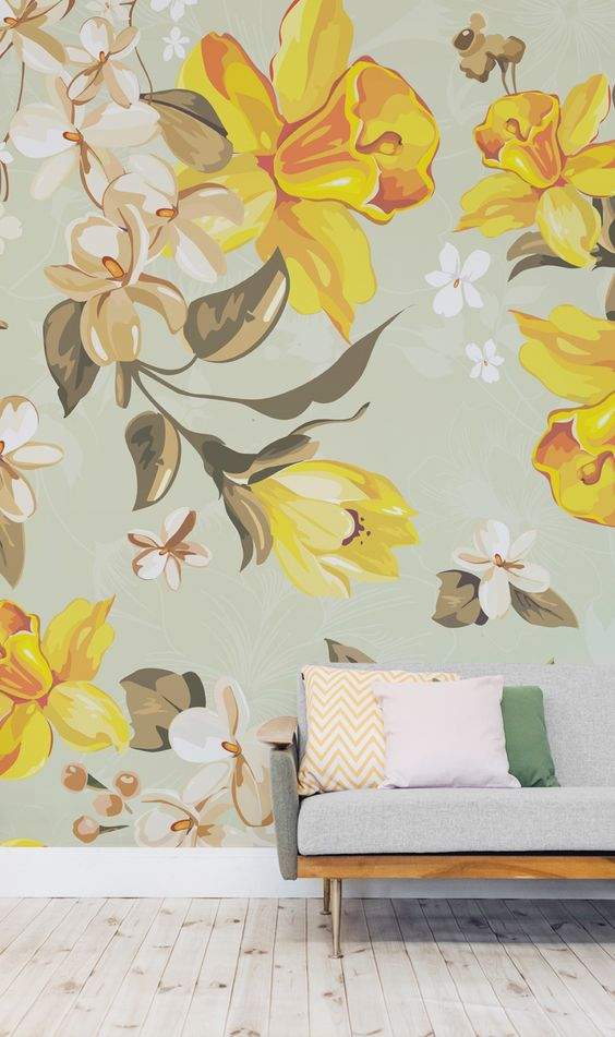 pared-floral-amarilla-tendencia-2017