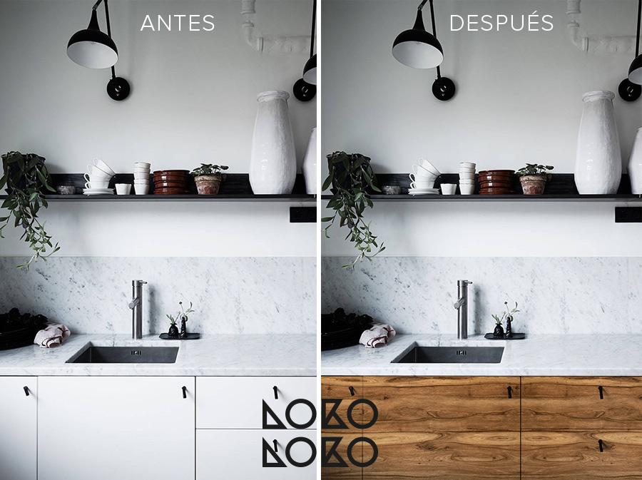 Antes y despu s 10 reformas con vinilo madera en cocinas - Vinilo muebles cocina ...