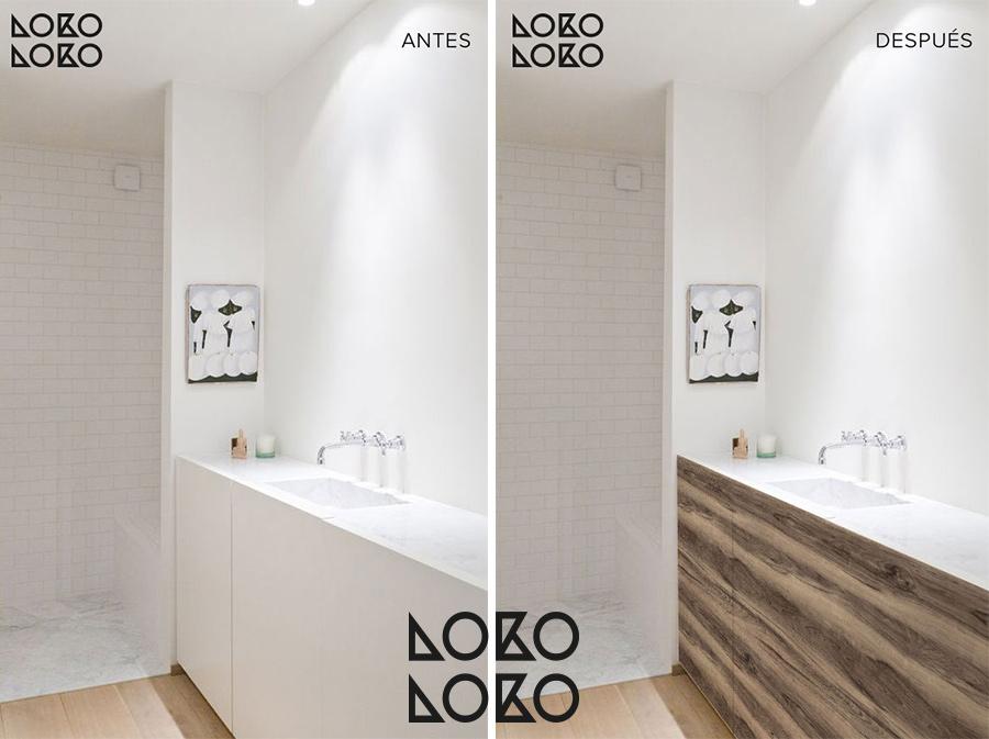 transformar-banos-blancos-modernos-con-vinilo-para-muebles-acabado-madera