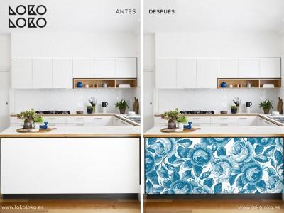 Antes y después de muebles tuneados con vinilos florales