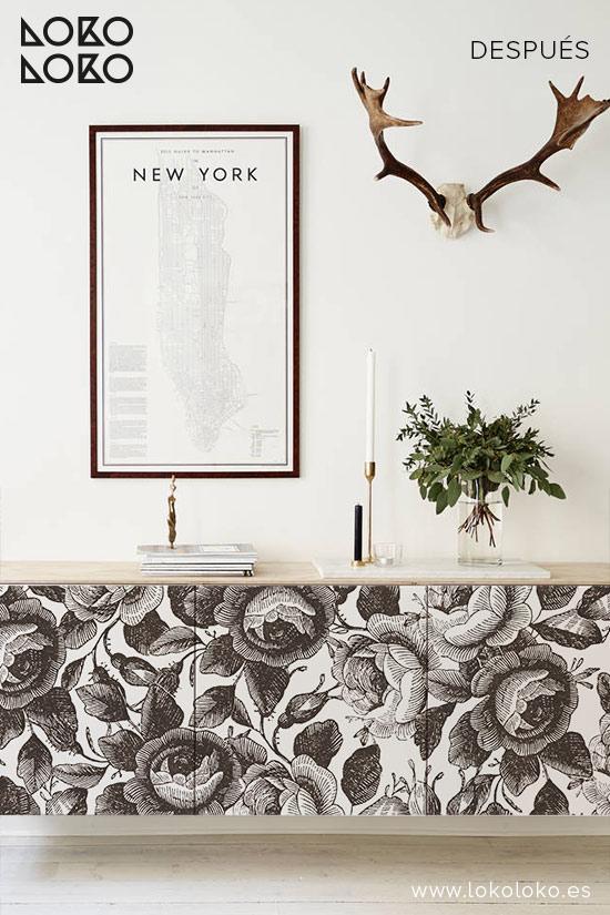 Aparador-blanco-con-vinilo-de-flores-marrones-lokoloko-design