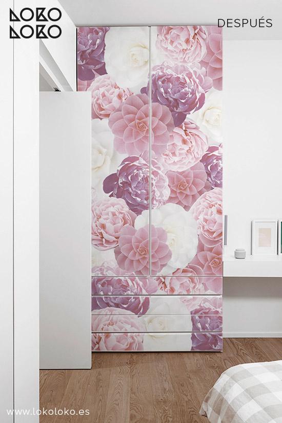 Armario-blanco-con-vinilo-para-muebles-flores-rosas-lokoloko-design