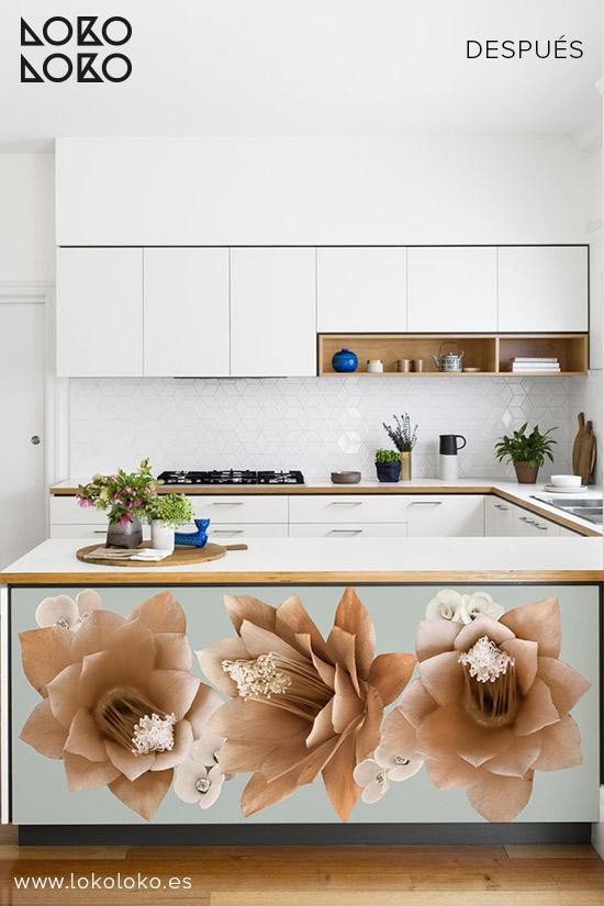 Cocina-blanca-vinilo-flores-naranjas-lokoloko-designr