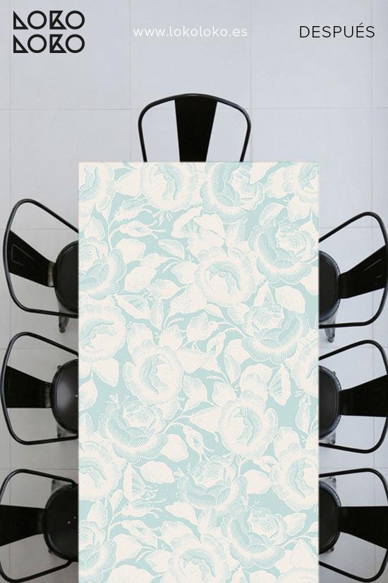 Mesa-con-vinilo-de-flores-color-crema-lokoloko-design