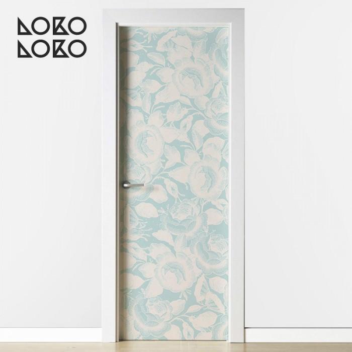 estampado-flores-crema-menta-puertas-de-habitacion