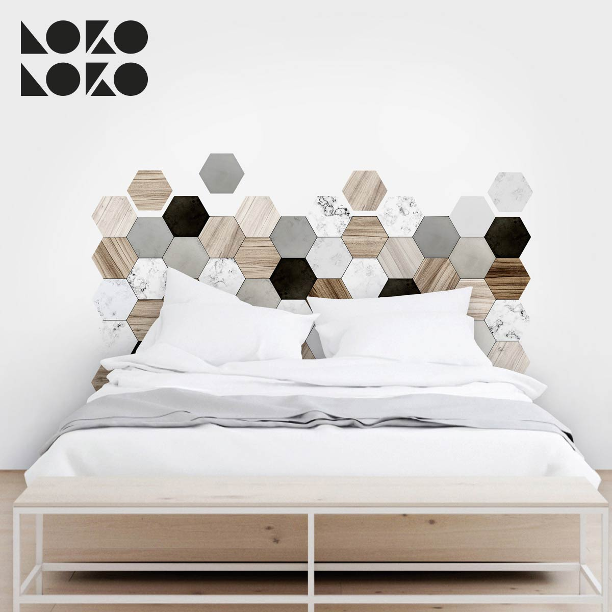 15 ideas originales para cabeceros de cama con vinilos for Decoracion paredes en vinilo