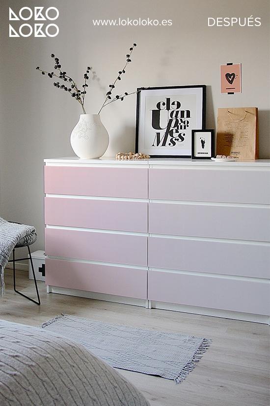 comoda-malm-blanca-renovar-con-vinilo-degradado-rosa-dormitorio-juvenil-despues-lokoloko