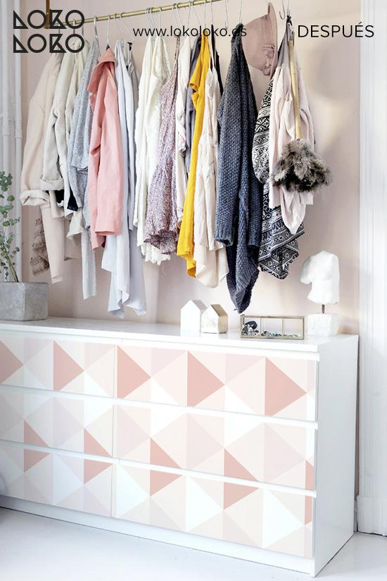 comoda-malm-blanca-renovar-con-vinilo-triangulo-rosa-cuarzo-dormitorio-juvenil-despues-lokoloko