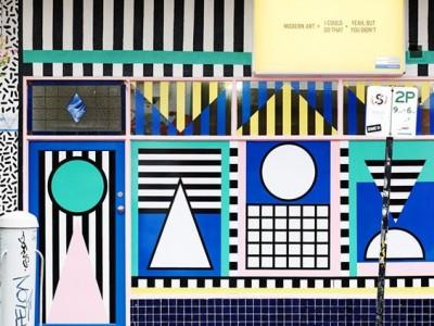 Curiosos y singulares escaparates decorados con vinilos geométricos