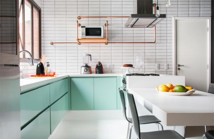 45 ideas para aplicar el color verde menta o mint en la cocina for Aplicacion para disenar cocinas