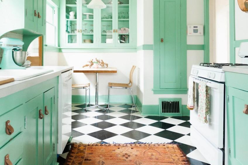 45 ideas para aplicar el color verde menta o mint en la cocina for Colores recomendados para cocinas
