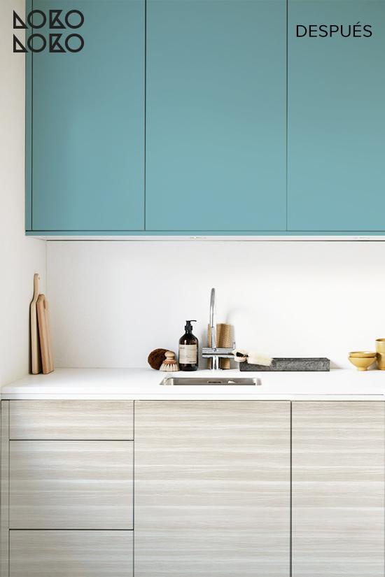 Redecorar-cocina-sin-obras-con-vinilo-azul-aguamarina-y-madera-escandinava-lokoloko-design