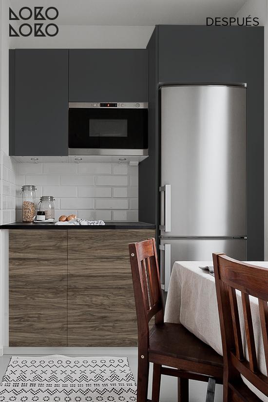 Antes y despu s renovar cocinas blancas con vinilos de imitaci n madera y vinilos de colores lisos - Vinilo madera ...